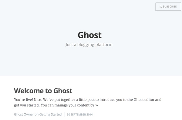 The Ghost Home Page After Install