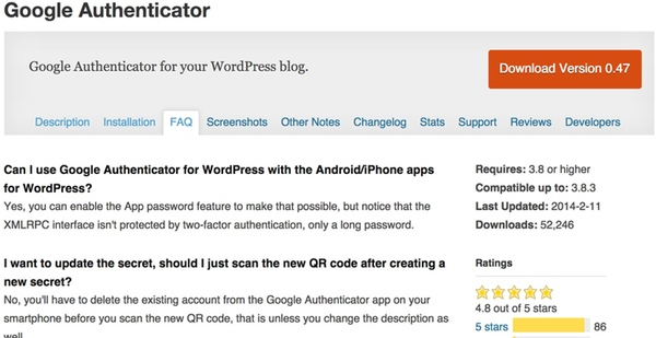 Google Authenticator WordPress Plugin by Henrik Schacks