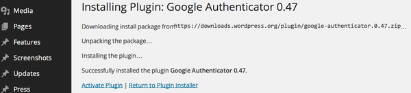 Activate the plugin Google Two-Factor Authentication