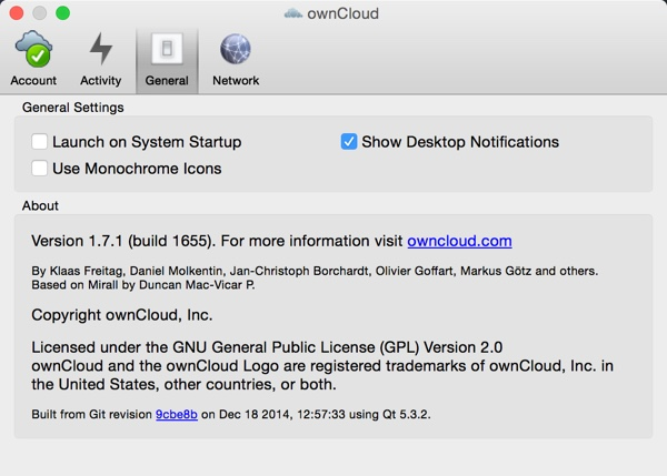OwnCloud App Settings Launch on System Startup