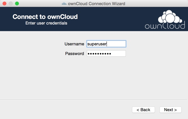 OwnCloud Setup the OS X App - Credentials