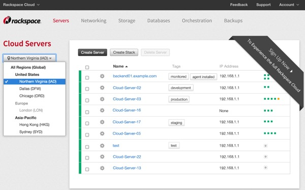 Amazon AWS Alternatives - RackSpace Management Console