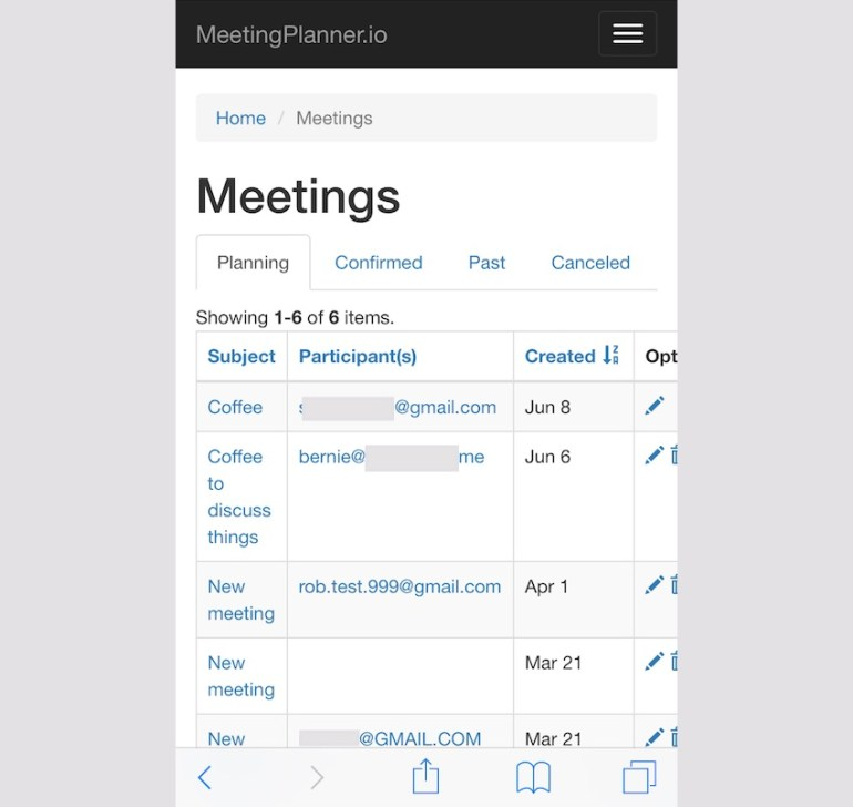 Meeting Planner Responsive Web - Meetings List