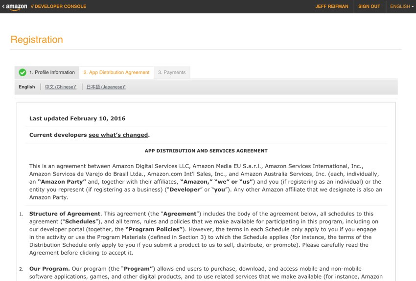 Amazon Appstore - App Distribution Agreement