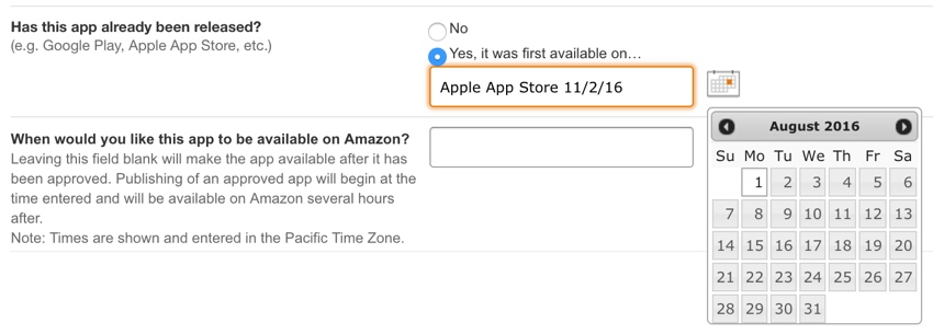 Amazon Appstore - Where was it first available and Launch date for your app