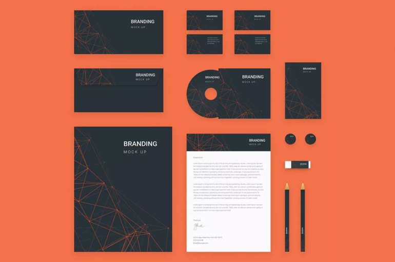 Branding Identity Mock Up - Orange Tech