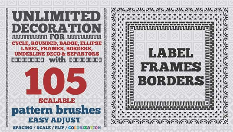 105 Border Pattern Brushes for Illustrator