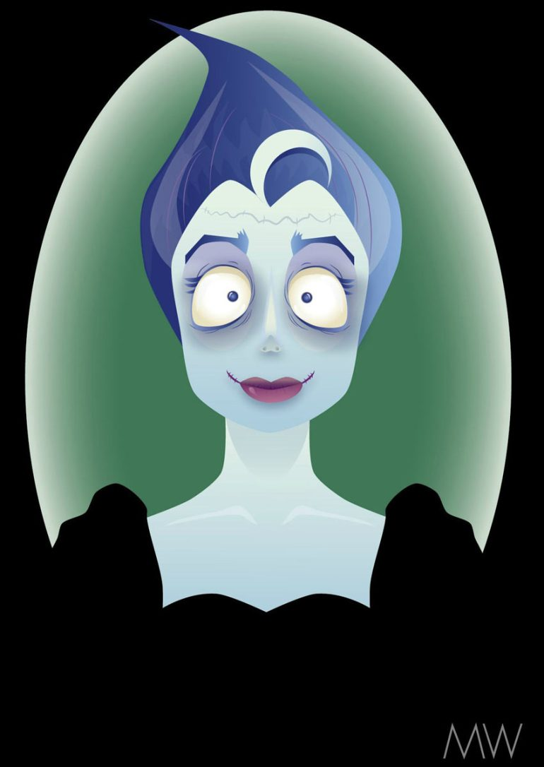 Adobe Illustrator Bride of Frankenstein Fan Art by Gosia