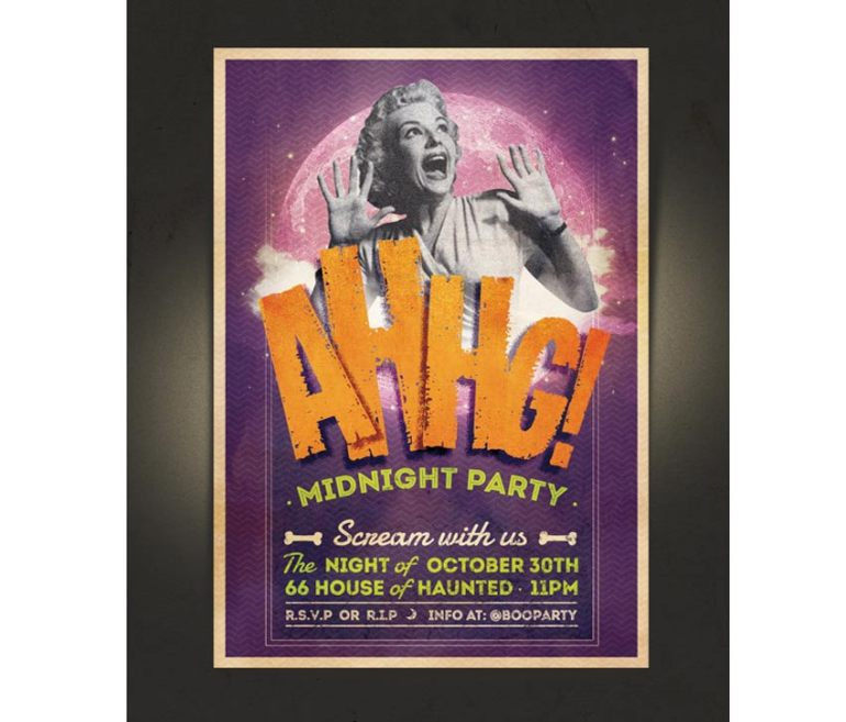Vintage Midnight Party Halloween Invitation