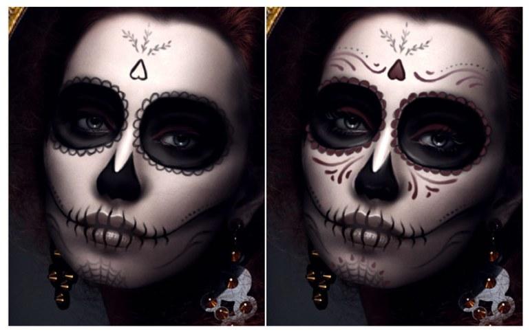 Paint Red Details for the Dia de los Muertos Face Makeup