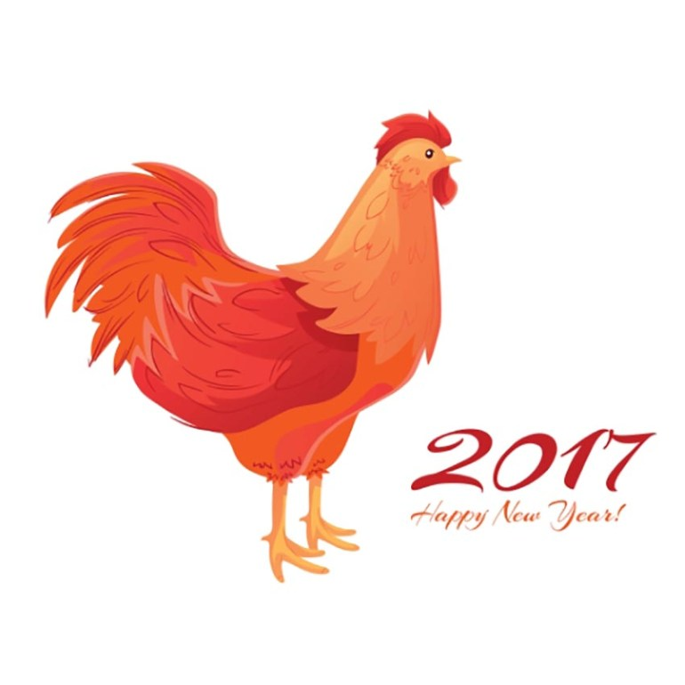 Rooster Happy New Year Card