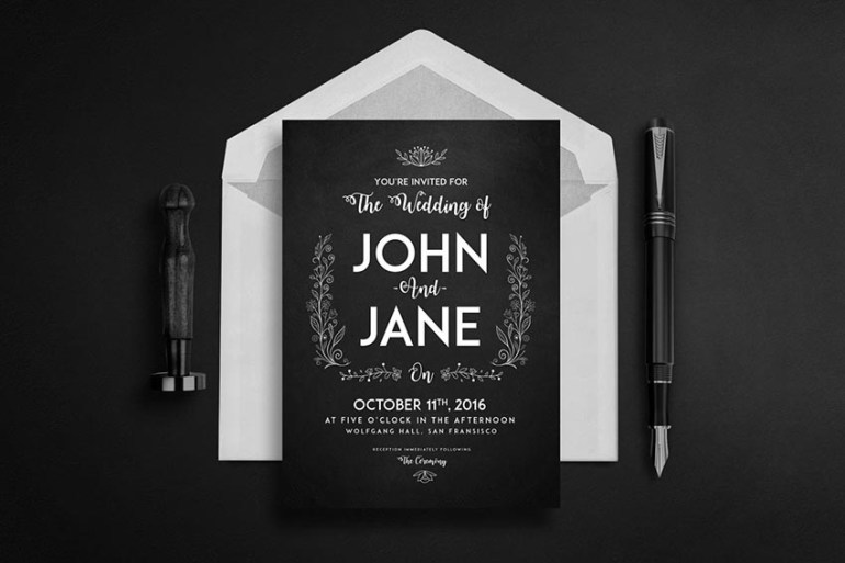 Black Wedding Set - Invitation