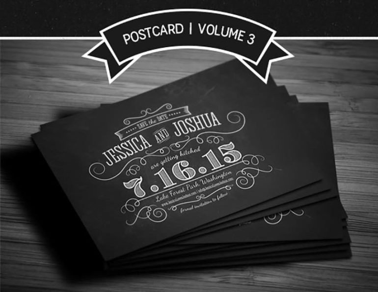 Save The Date Chalkboard Postcard - Volume 3