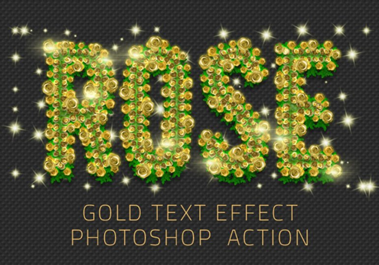 Rose Flowers Gold Text Effect
