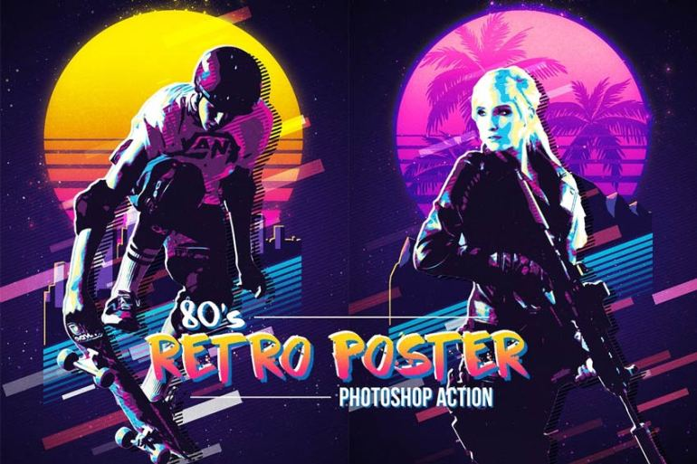 80s Retro Poster Photoshop Action