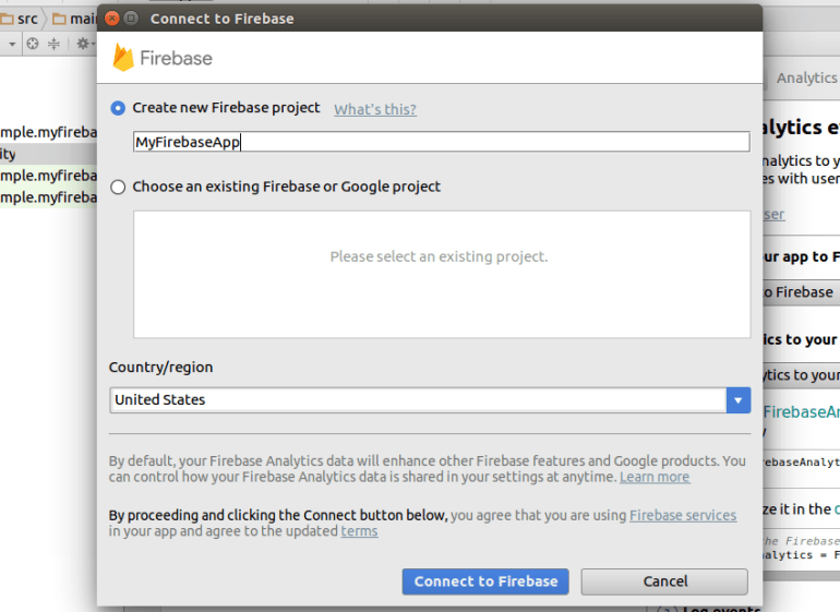 Connect to Firebase dialog