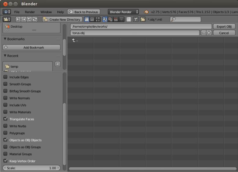 La exportación de objetos 3D como archivo Wavefront OBJ