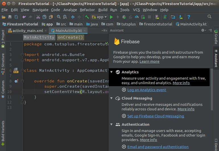 Firebase Assistant window