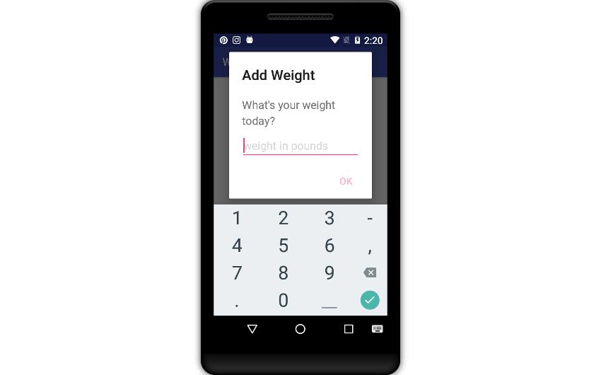 Add weight dialog