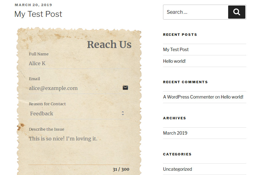 WordPress post with an embedded form