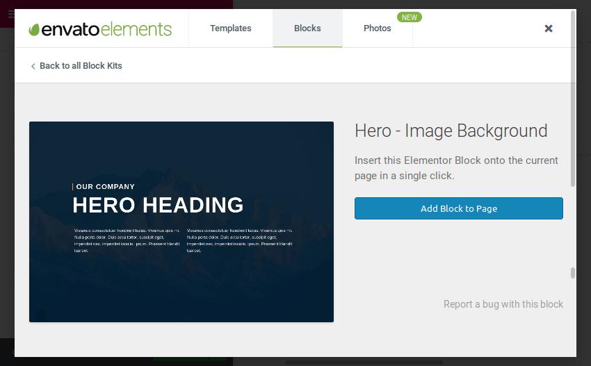Hero block preview