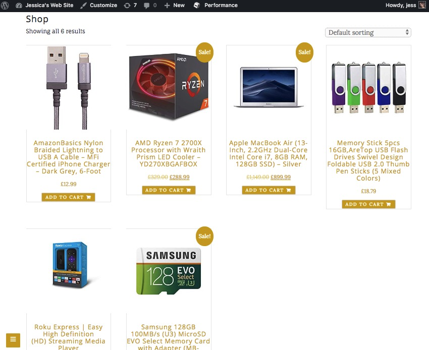 Select the Shop page to view the current state of your Amazon-powered store