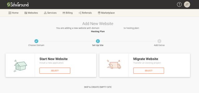 To create a new WordPress website select Start New Website