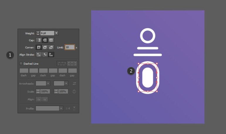 Create a new stroke using the eyedropper tool
