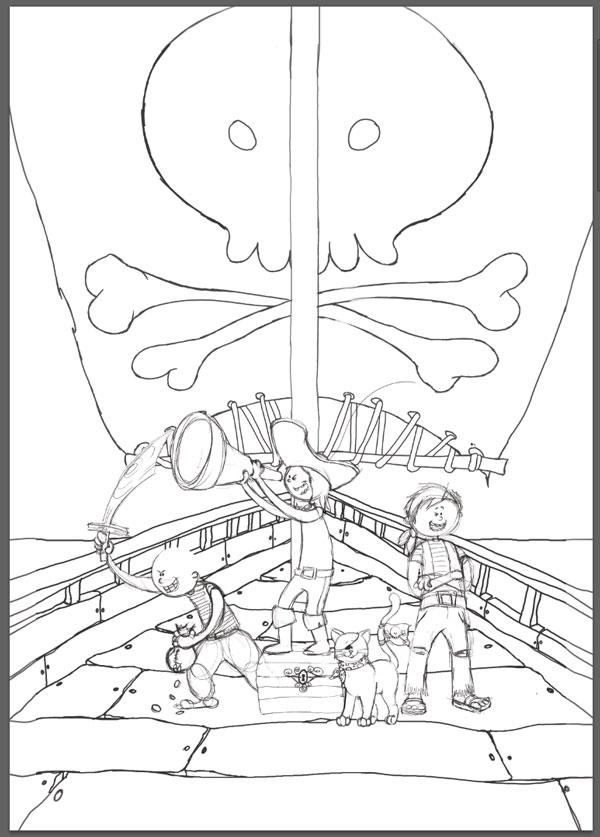 Create a Multi-Character Pirate Illustration for Young