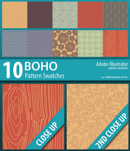 10 Boho Illustrator Pattern Swatches on Envato Market