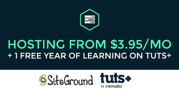 Siteground hosting plan with Tuts+