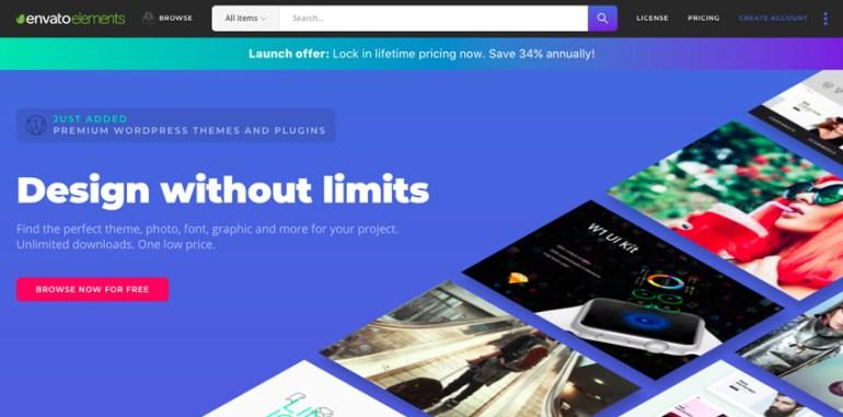 Envato Elements homepage