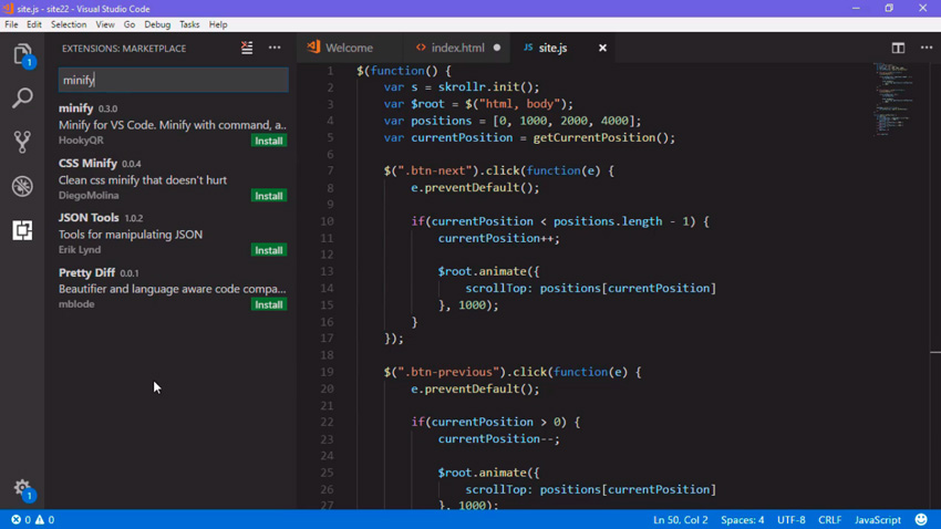 Visual Studio Code minifying extensions