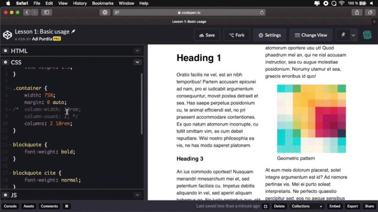 CSS multicolumn layout example