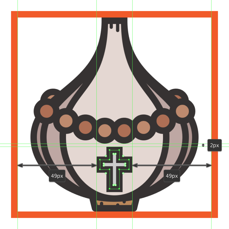 creating and positioning the main shapes for the garlics front cross