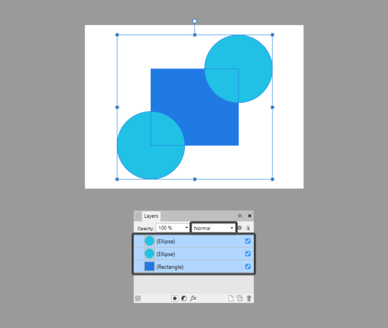 example of default blend mod for ungrouped shapes