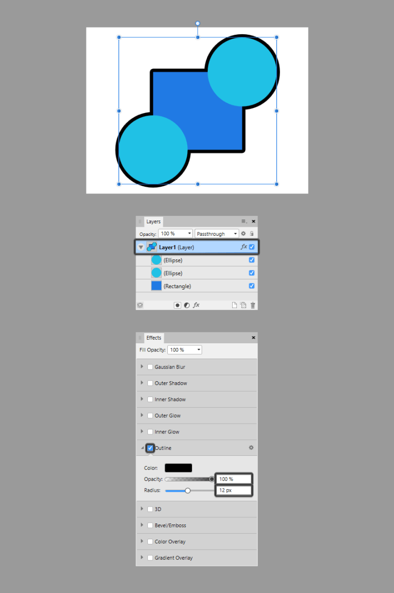using the same effect on shapes that are on the same layer