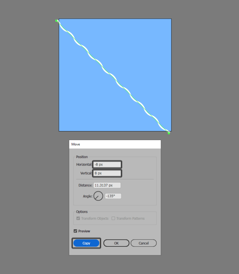 creating the first copy of the zig zag line