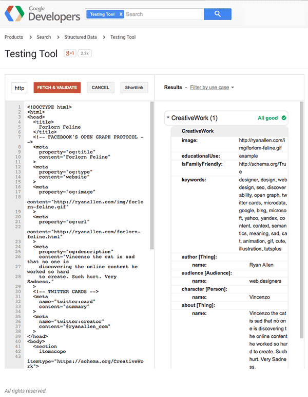 Google Structured Data Testing Tool Validation