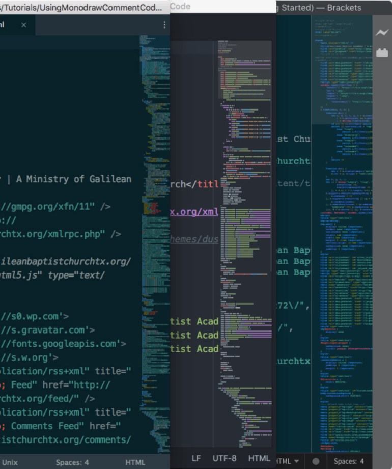 Minimap in Sublime Text Atom and Brackets