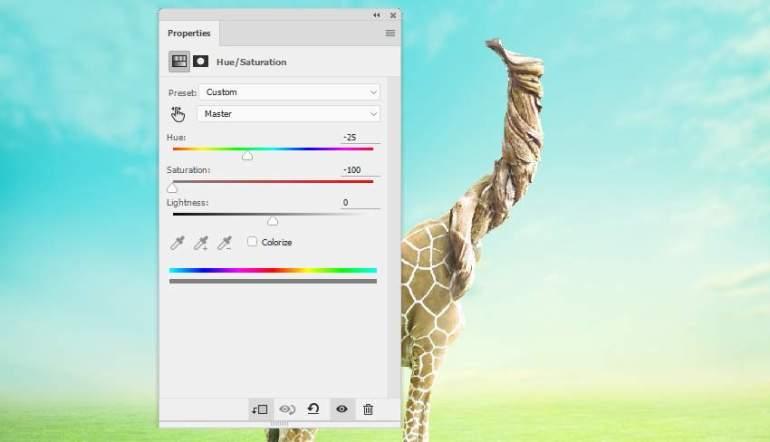 giraffe skin hue saturation