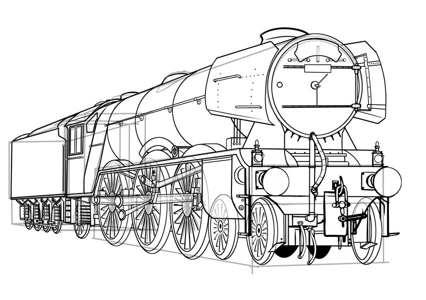 How to Draw a Classic Steam Locomotive From Scratch