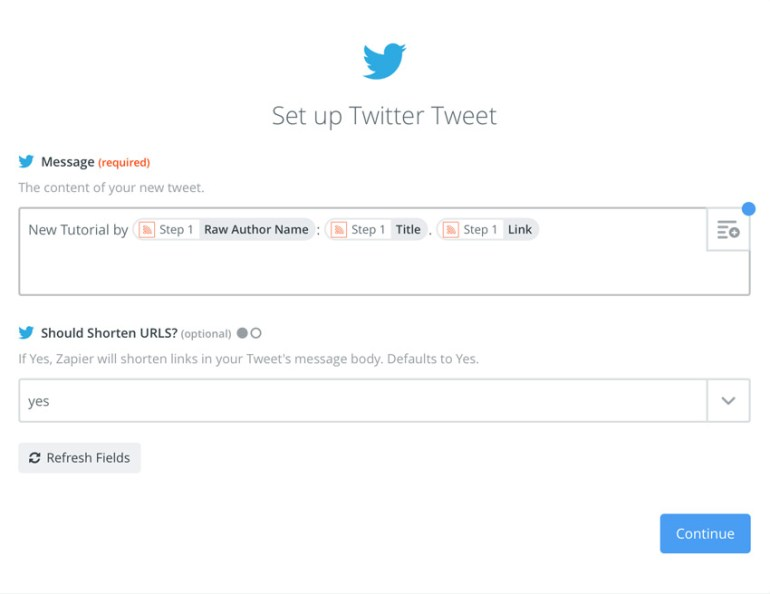 Zapier tweet template