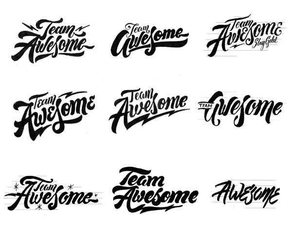 Team Awesome: From Hand-Lettered Logotype to Vector in