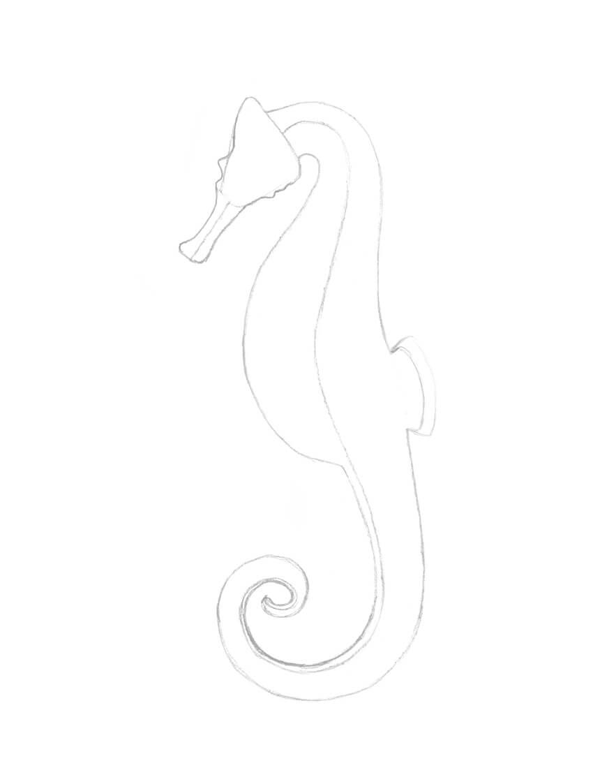 Cara Menggambar Kuda : menggambar, Seahorse, Black, Liners