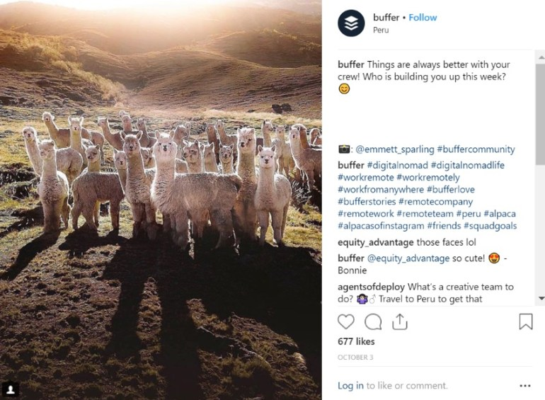 Example of how to market to millennials with user generated content