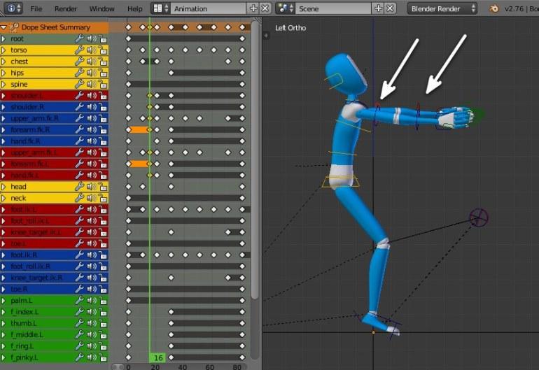 Creating in-between pose