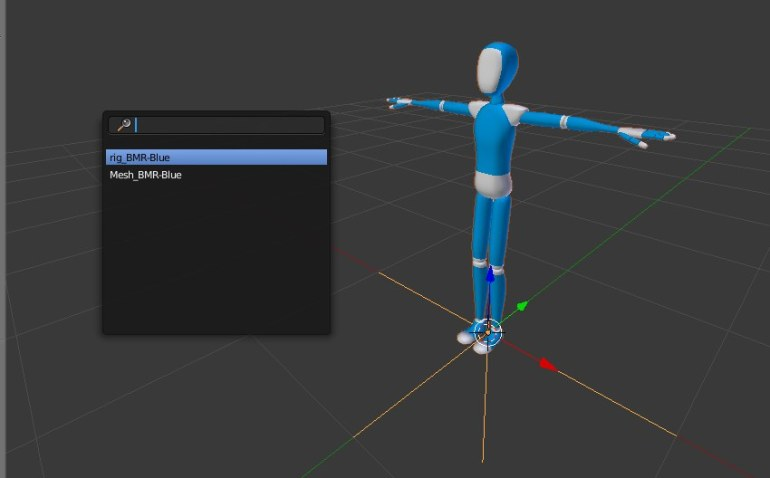 Select armature object