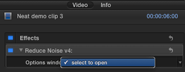 opening the Neat Video plugin options window