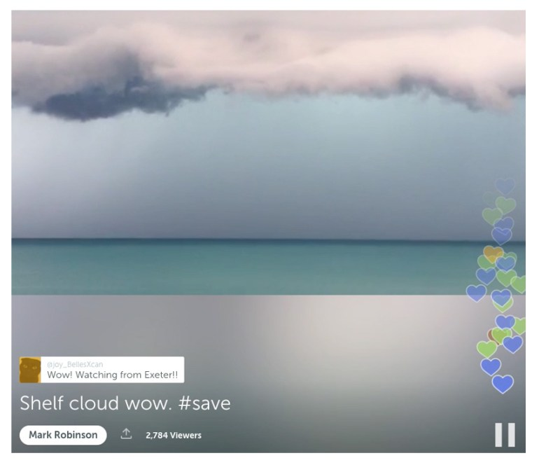 Screen capture of Periscope showing storm